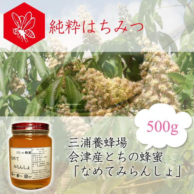 三浦養蜂場 会津産とちの蜂蜜「なめてみらんしょ」500g
